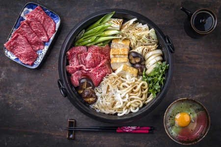 Sukiyaki in traditional Cast Iron Pot Stock Photo