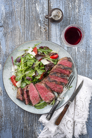 Wagyu Point Steak with Italian Salad Stock Photo
