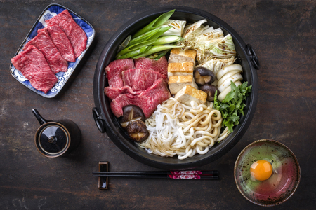 Japanese Sukiyaki in traditional Cast Iron Pot