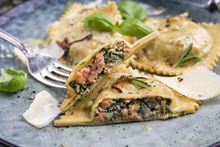 Salmon Spinach Ravioli on Plate 스톡 콘텐츠