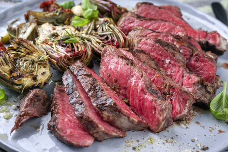 Barbecue Wagyu Point Steak with Artichoke Hearts on Plate