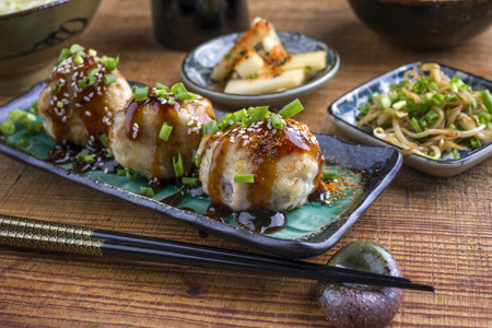 Takoyaki with Sprouts and Daikon