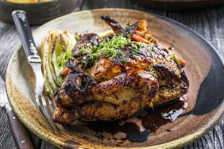 Spring Chicken with Vegetable on Plate