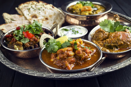 Indian Dishes on tradittional Thali