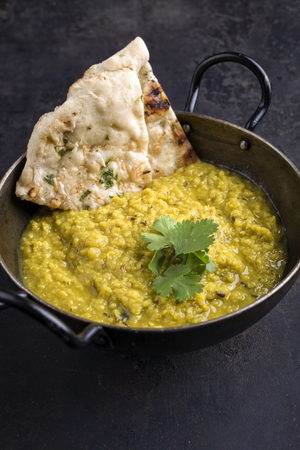 Indian Dal Soup with Chapati in Bowl