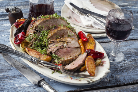 leger: Leg of Lamb with Vegetable and Fruits