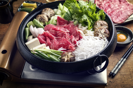 Traditional Japanese Sukiyaki with Kobe Beef as close-up in a pot Stok Fotoğraf