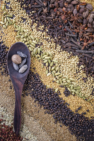Traditionelles internationales Getreide und Saatgut als Gewürz als Nahaufnahmen Standard-Bild - 77248459