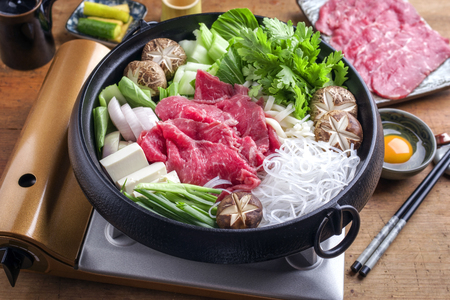 ei: Traditional Japanese Sukiyaki with Kobe Beef as close-up in a Pot Stock Photo