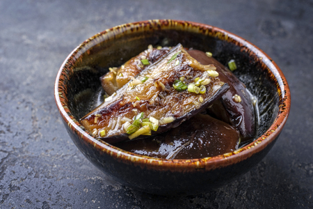 culinary arts: Japanese pickled eggplant as close-up in a bowl