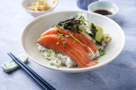 sesame street: Traditional Japanese Hokkaidon Thinly sliced salmon Donburi as close-up in a bowl Stock Photo