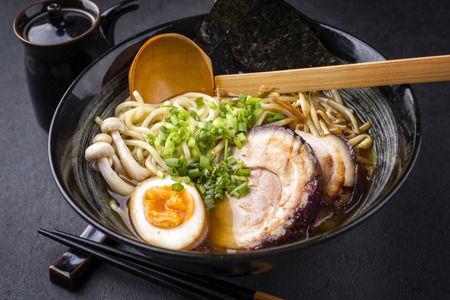 dashi: Traditional Ramen Yakibuta with Pork as close-up in a bowl