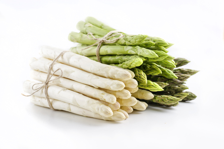 fine tip: Green and White Asparagus - isolated