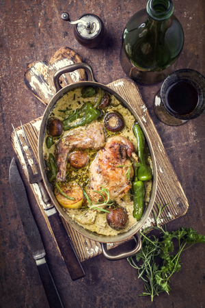 Rabbit with Vegetables and Mushrooms in White Wine Cream Sauce