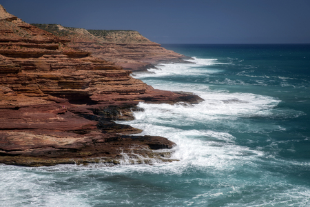 Western Australia - rocky coastline with strong surge and high cliffs Stock Photo