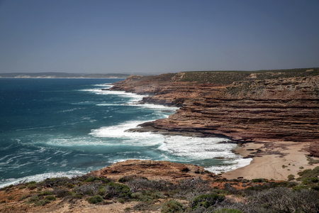 Western Australia rocky coastline with strong surge and high cliffs