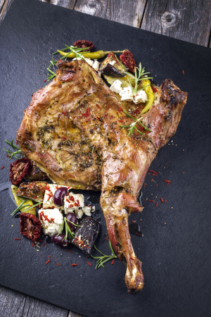 leger: Barbecue Lamb Shoulder with Vegetables and Feta Stock Photo