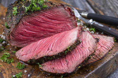Barbecue Wagyu Point Steak sliced ??as close-up on a cutting board