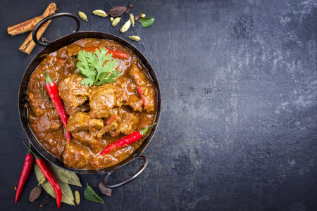 Traditional Indian curry lamb masala as close-up in a Korai Stockfoto