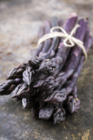 Row purple Asparagus as close-up on an old metal sheet with copy space Standard-Bild - 94523520