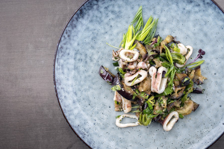 Traditional Asian squid eggplant ragout with scallions and sesame as top view on a plate