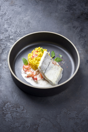 Fried haddock filet with saffron rice and shell prawns in crab sauce as closeup on a modern design bowl with copy space Фото со стока