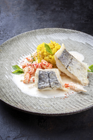 Fried haddock filet with saffron rice and shell prawns in crab sauce as closeup on a modern design plate Stock Photo