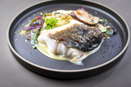 Fried Norwegian skrei cod fish filet with mashed potatoes, mushroom and lemon curd as closeup on a modern design plate