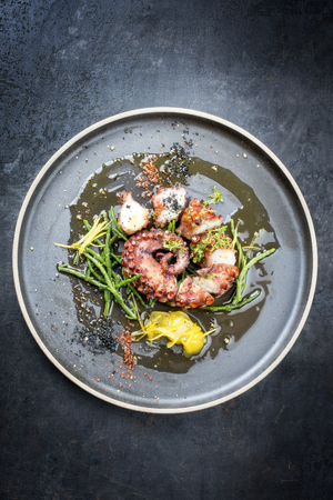 Traditional French octopus braised cooked with Salicornia, lemon curd and spice as top view on a modern design plate with copy space