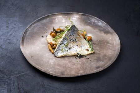 Gourmet fried gilthead fish filet with sliced dumpling, glasswort and algae as closeup on a modern design plate
