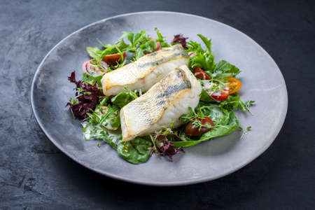 Traditional fried skrei cod fish filet with Italian lettuce and tomatoes in a lemon coconut dressing offered as close-up in a modern design plate