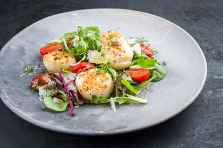 Traditional barbecue scallops with tomatoes, lettuce and Italian parmesan cheese offered as closeup on a modern design plate