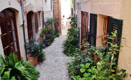 Valldemossa, Mallorca, Spain, September 23, 2013: Plants in narrow street in Valldemossa a village on the island of Majorca, Spain Editorial