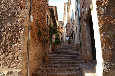 Old narrow street stairway in Valldemossa a village on the island of Majorca, Spain