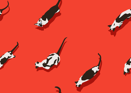 Siamese cat seamless pattern on red background. Funny animals walk. Vector illustration. Pet cartoon texture for print, banner, postcard, card, wallpaper, web, gift pack, wrapping. Illustration