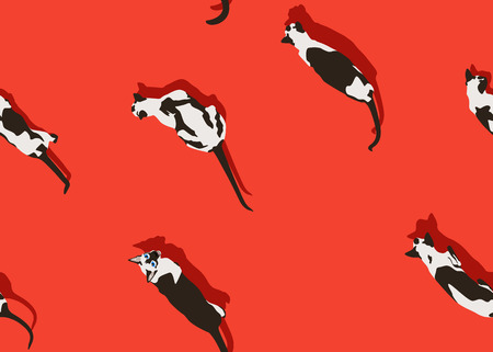 Siamese cat seamless texture on red background. Funny animals walking. Vector illustration. Pet cartoon pattern for print, banner, postcard, card, wallpaper, web, gift pack, wrapping.