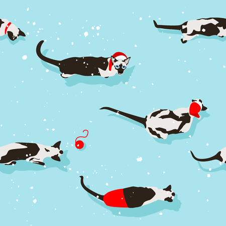 Siamese cat seamless pattern on light blue background. Flat style with snow and shadow. New Year accessories. Merry Christmas winter. Funny animals. Vector illustration. Pet cartoon texture. Red ball