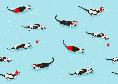 Siamese cat seamless pattern on light blue background. Flat style with snow flakes. New Year accessories. Merry Christmas mood. Funny animals in winter. Vector illustration. Pet toon texture.