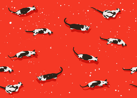 Siamese cat seamless pattern on red background. Flat style with snow flakes. New Year accessories. Merry Christmas mood. Funny animals in winter. Vector illustration. Pet toon texture, wallpaper. Illustration