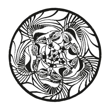 Circus ornament engraving art print. Exclusive hand made artwork. Five clown characters with different emotions abstract round linocut. Vector illustration. Mood linocut image. Black, white on paper