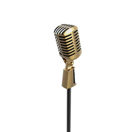 Vintage retro microphone isolated on white background 3d render. Gold metallic speech device illustration for stand up, meeting, musical performance and corporate. Object visualization.