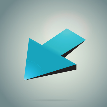 Arrow 3d icon on gradient background with realistic shadow. Vector illustration. Blue modern sign. Shiny object for print, web and application. Creative button design. Illustration