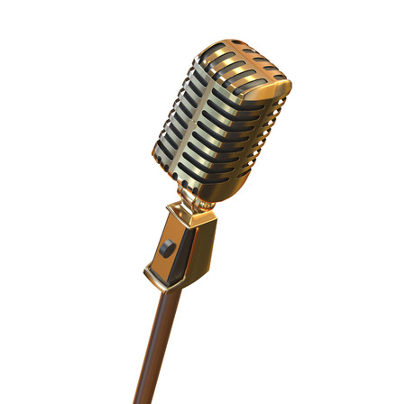 Gold vintage retro microphone isolated on white background 3d render. Metal speech device illustration for stand up, meeting, musical performance and corporate. Object visualization. Stock Photo