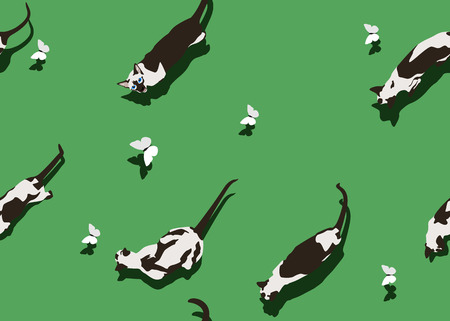 Siamese cat seamless pattern on green background. Flat style image with shadow. Funny animals walking with flying butterfly. Vector illustration. Pet cartoon texture, wallpaper and banner. Illustration