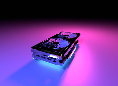 Graphic video card GPU 3d illustration render. Cryptography coins currency miner. Power hardware adapter. Modern design. Technology wallpaper image for web, poster, marketing, print.