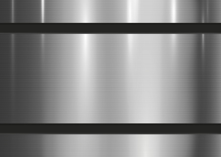 Metal abstract texture background. Technology brushed, polished, chrome, silver, steel, aluminum surface. Design concept, web, print, poster, wallpaper, interface. Metallic wall. Vector illustration.
