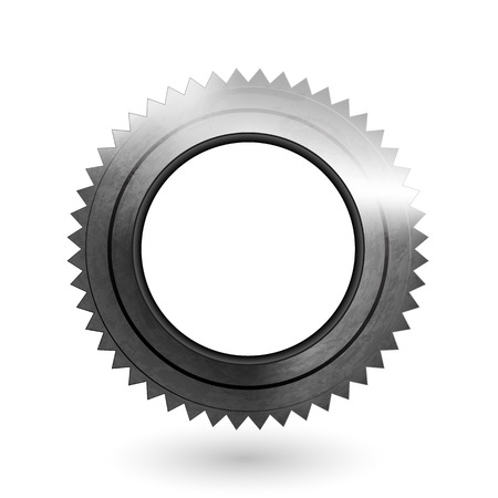 Cogwheel realistic metal textured icon. Vector illustration. Gear wheel isolated on white background. Part of the mechanism with light and shadow. Technical element image. Print or web material uses. Illustration