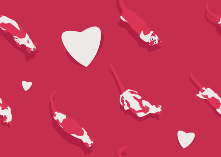 Happy Valentines Day holiday seamless pattern. Vector illustration. Love concept card with siamese cat and heart. Animals and romantic symbol on pink gradient background. Cartoon style wrap