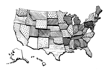 United States Of America drawing map isolated. USA vector illustration. Pencil drawing territory print. Country poster with states for travel materials and education. Cartoon style image hand drawn.