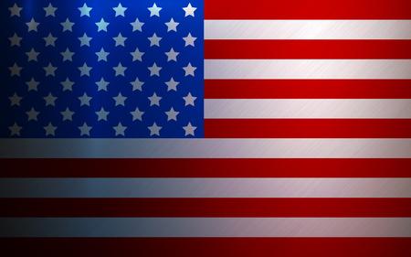 United States of America flag on metallic texture background. Vector illustration. American symbol grunge metal surface. National backdrop for print, banner, web, application, poster. Illusztráció